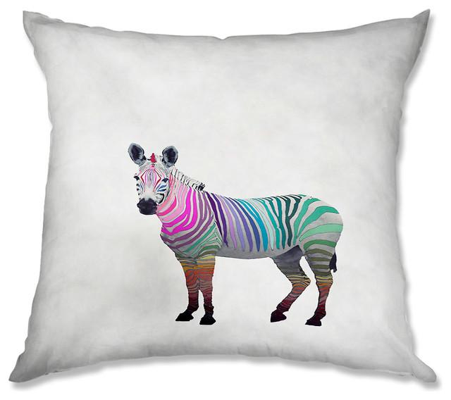 Pillow Woven Poplin from DiaNoche Designs by Monika Strigel Rainbow Zebra White contemporary-decorative-pillows