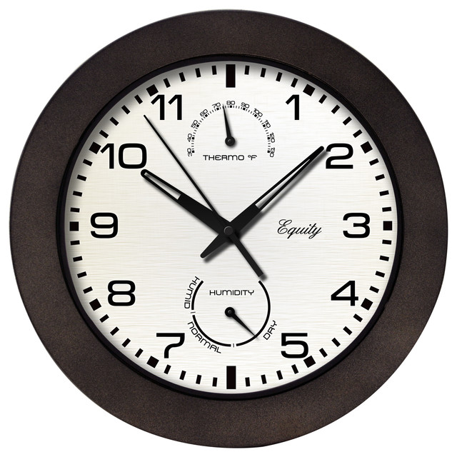 Equity '29005' 10-inch Brown Outdoor Thermometer/ Humidity Wall Clock - Contemporary - Clocks ...