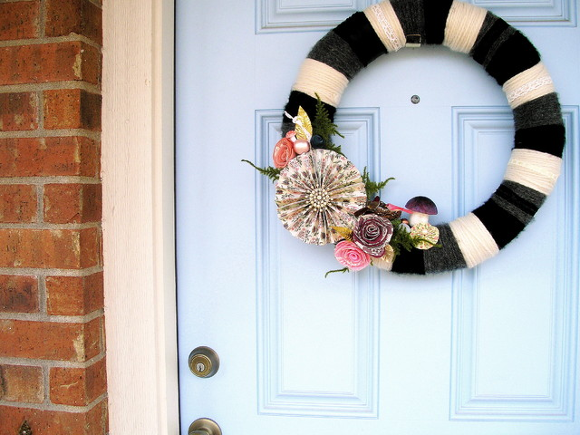 Front Door Yarn Wreath eclectic exterior