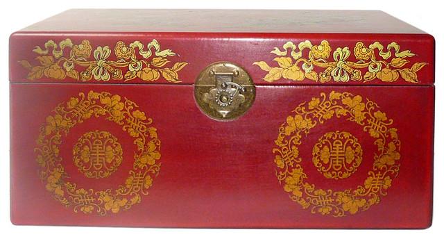 Chinese Red Phoenix Dragon Rectangular Storage Box asian-jewelry-boxes-and-organizers