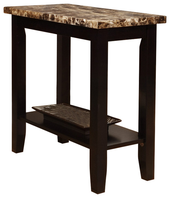 Walnut Black Chairside Sofa End Accent Table Faux Marble