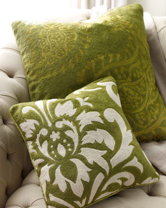 Anju Ivory on Green Floral Pillow traditional-decorative-pillows