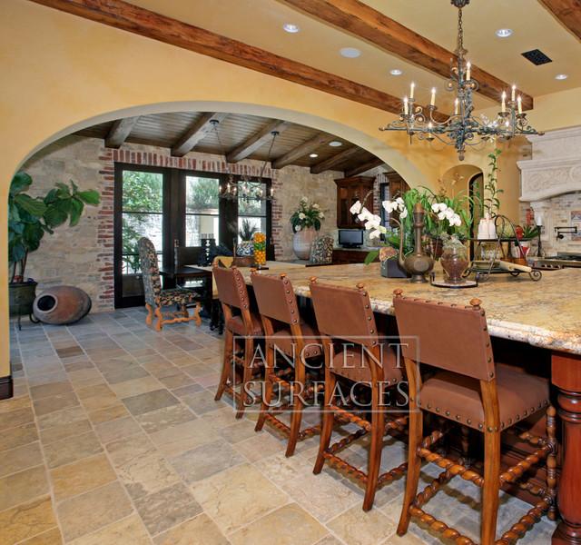 Mediterranean Tiles Kitchen: Antique Arcane Limestone Reclaimed Stone Flooring Pavers