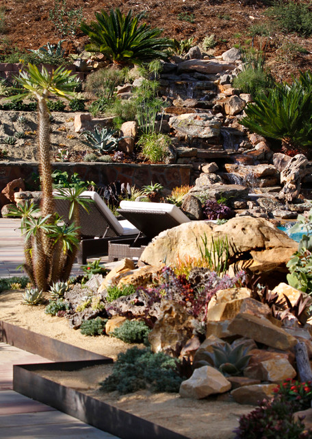 Hill Backyard : Backyard Hill Landscape Design Ideas, Carlsbad, CA  Contemporary