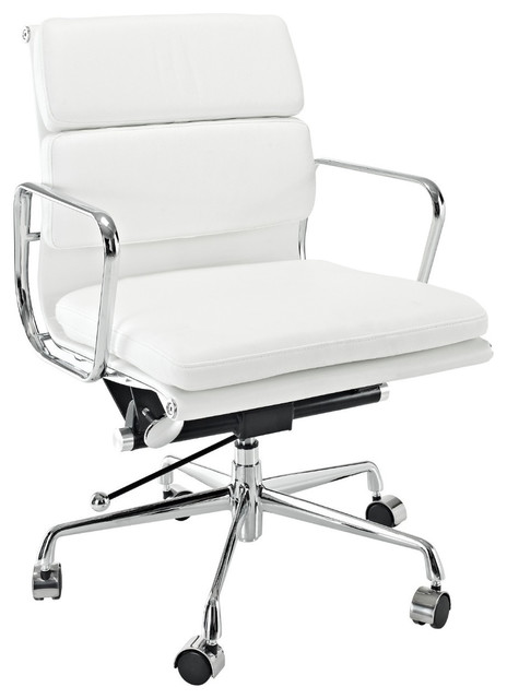 eames style soft conference office chair mid back white leather