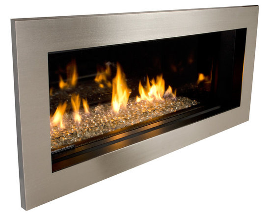 L1 Linear Series Fireplace - 1512MBS Murano Beaded Glass Kit with Brushed Nickel Trim 1550LSP
