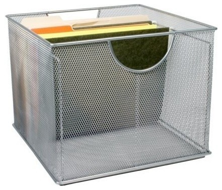 Mesh File Box - Silver - Modern - Filing Cabinets - by The Organizing Store