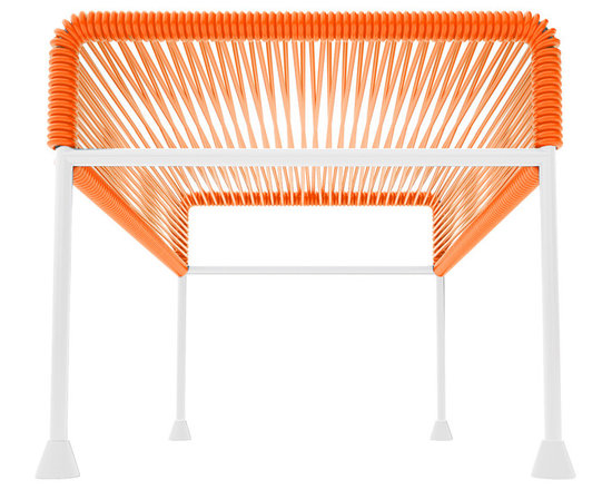 Adam Ottoman, White Frame With Orange Weave - Sleek woven vinyl makes this coffee table stand really pop. It's a great option for indoor and outdoor use since the vinyl is UV protected and the metal base is galvanized. The only challenge would be deciding on your favorite color top to pair with the crisp white base.