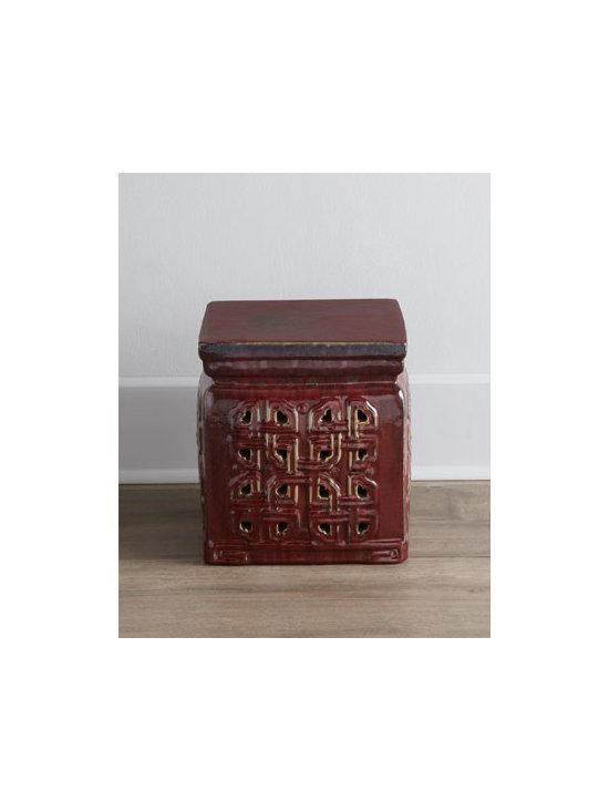 Horchow - Vintage Ceramic Garden Stool - With its traditional raised, pierced design, this petite garden stool adds a bit of intrigue to the room. Its short stature makes it perfect as low seating or as a place to prop your feet. From Jiangxi, China, c. 1912-1960. Ceramic, with a red glaze.....