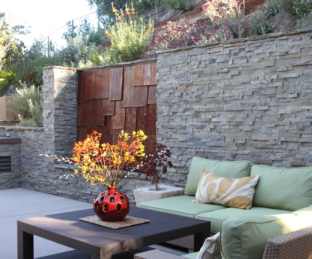 Ledger Stone Retaining Wall with Copper Waterfall - Contemporary ...
