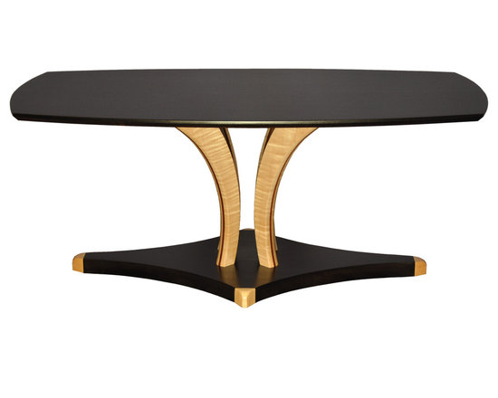 """Contemporary Art Coffee Table - Shown in Ebonized African Sapele Wood, with Tiger Maple legs and accents. Size shown is 24"""" x 46"""" x 19"""" high"""