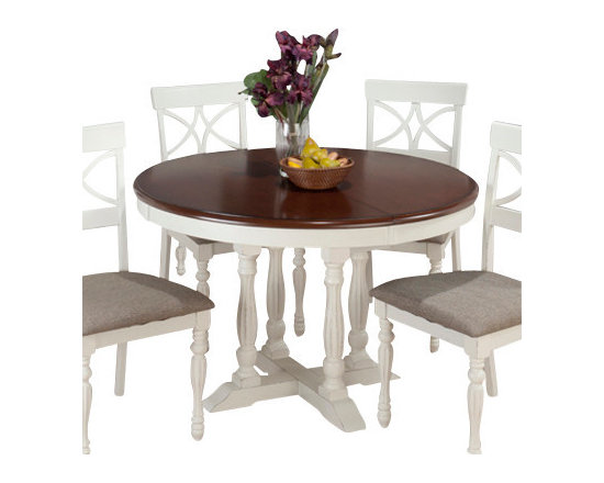 Jofran - Jofran 693-48 Chesterfield Tavern Butterfly Leaf Pedestal Dining Table - The Chesterfield Tavern collection will add a country-Chic look to your casual dining space. With eye-Catching details such as fluted legs, beautiful two-toned antiqued tables, detailed scroll and splat back side chairs and a server that boasts plenty of room for your serving essentials this set will add a lot of character to your room. Choose from two table types and two beautiful colors: antique white or antique black.