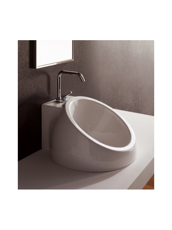 "Scarabeo - Stylish Modern White Ceramic Built-In Sink by Scarabeo - Designed and manufactured in Italy by Scarabeo. Stylish modern circular built-in bathroom sink made of high quality white ceramic. Washbasin includes a single faucet hole and overflow. Sink dimensions: 18.10"" (width), 18.10"" (depth)"