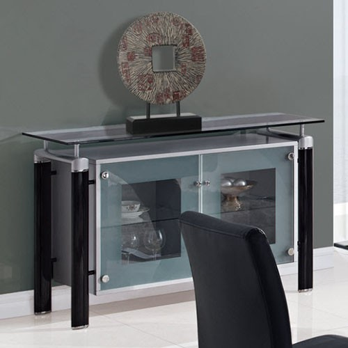 Clear Glass Top Buffet With Black Legs