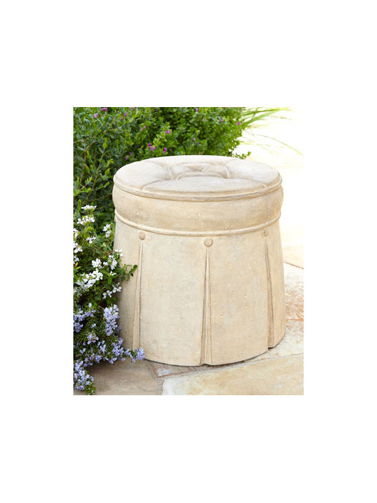 Horchow - Outdoor Ottoman - Exclusively ours. A master of deception, this outdoor ottoman takes on the look of its tufted, skirted indoor contemporaries to bring classic beauty to outdoor settings. Handcrafted of crushed stone/polyester resin/styrene/fiberglass. Hand-painted f...