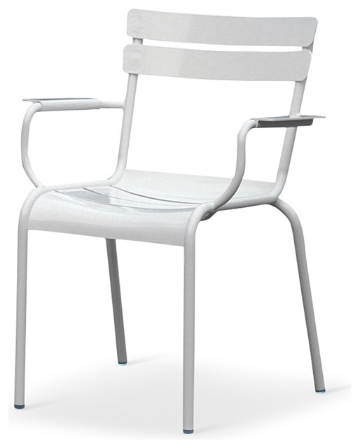 Sheffield Outdoor Metal Dining Chairs Set of 2 White Transitional Outdo