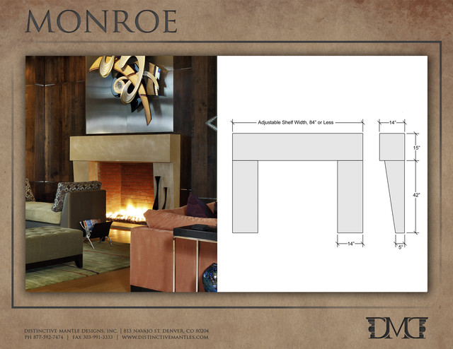 Monroe Modern Stone Fireplace Mantel  Modern  Indoor Fireplaces  640 x 494