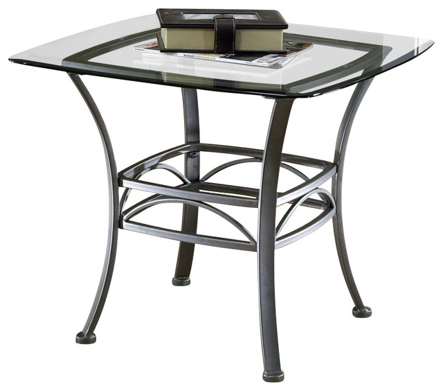Square end table wrought iron w glass top contemporary for Wrought iron side table