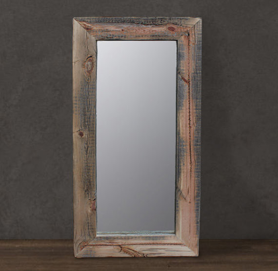 Reclaimed wood mirror floor or wall mount by j w atlas for Floor wall mirror