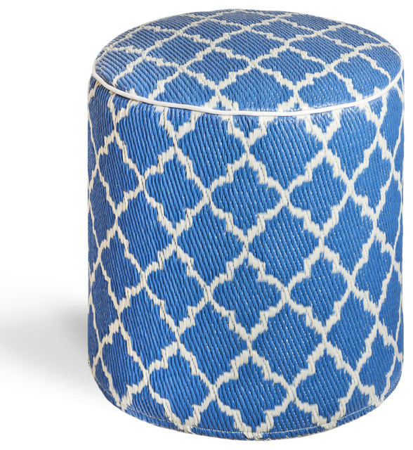 Tangier - Regatta Blue & White Pouf contemporary-footstools-and-ottomans