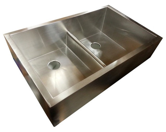 Create Good LLC - Double Bowl Apron Sink with patented seamless drain - Apron Front Double Bowl Sink with UltraClean Drain.