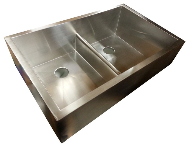 bowl apron sink with patented seamless drain