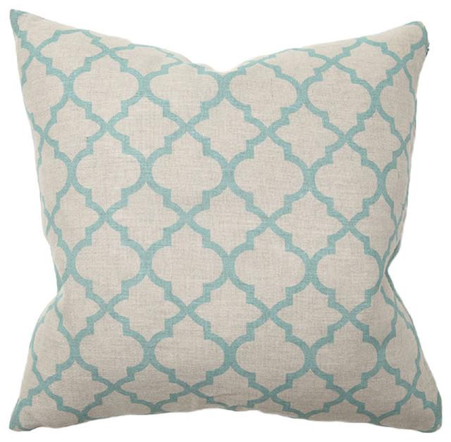 Villa Home Illusion Turquoise Tile Print Throw Pillow contemporary-decorative-pillows