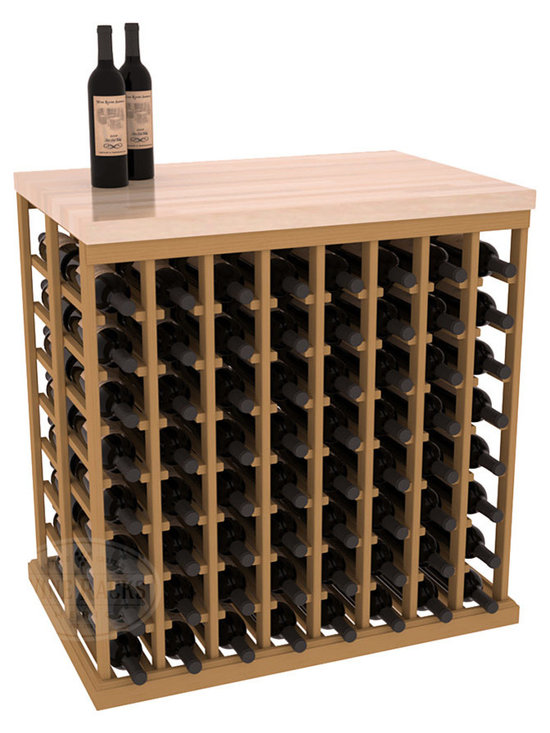 "Wine Racks America - Double Deep Tasting Table Wine Rack Kit with Butcher Block Top in Pine - The quintessential wine cellar island; this wooden wine rack is a perfect way to create discrete wine storage in open floor space. Includes a 35"" Butcher Block Top that helps you create an intimate tasting table. With an emphasis on customization, install LEDs or add a culinary grade Butcher's Block top to create intimate wine tasting settings. We build this rack to our industry leading standards and your satisfaction is guaranteed."
