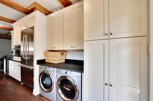 Kitchen Laundry Room Combination With Stainless Steel Appliances