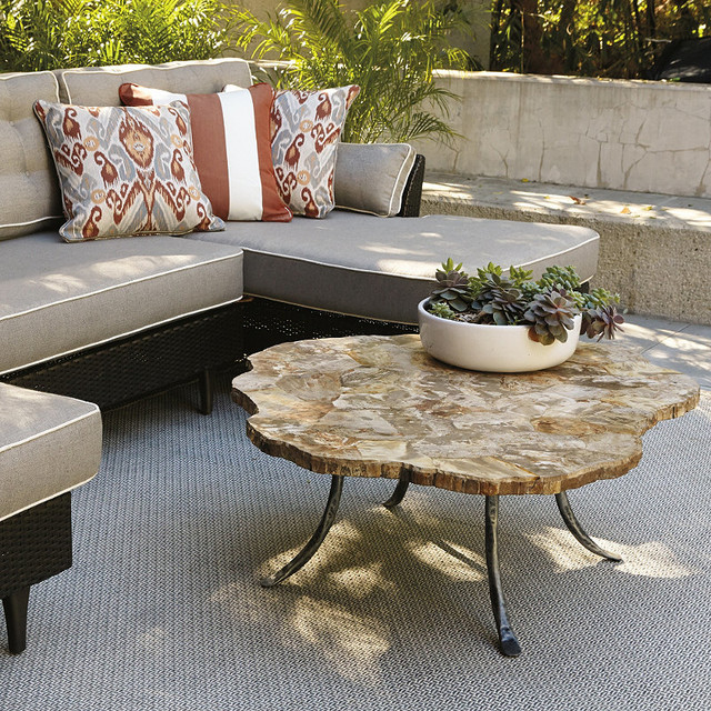 Petrified Wood Outdoor Coffee Table, Patio Furniture traditional-originals-and-limited-editions