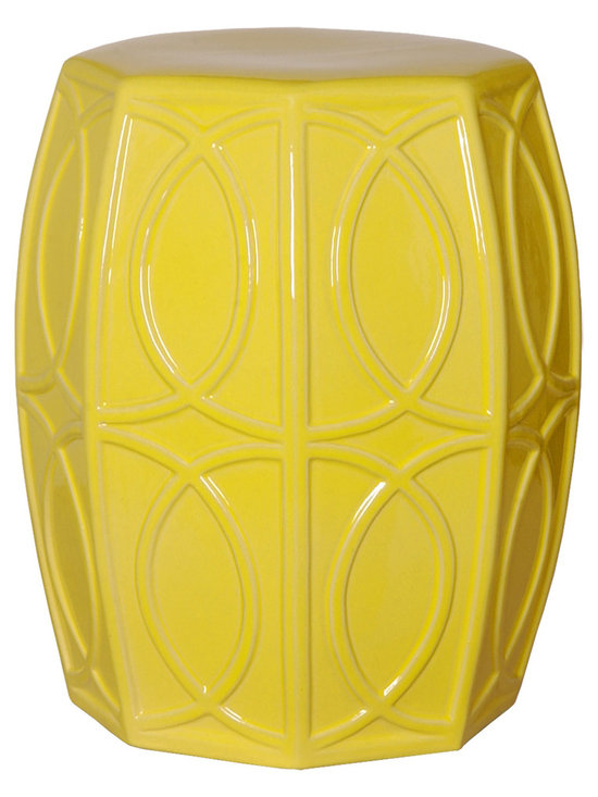 Yellow Treillage Garden Stool - Traditionalists will love how this garden stool seamlessly fits in with their décor while those preferring more modern looks can also appreciate this stool for its geometric motif and striking colors. Use this stool to create extra seating or as a design element in any room.
