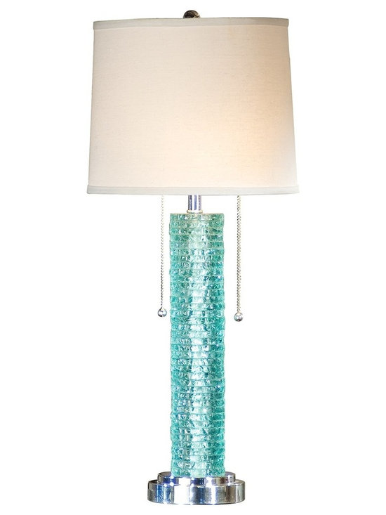 """Regina Andrew - Regina-Andrew Aqua Crystal Chipped-Edge Blue Table Lamp - Upgrade any space with this beautiful tall blue table lamp in a textured chipped-edge base design. Two pull switches adds convenience and style. From Regina-Andrew. Column table lamp. Aqua crystal base finish. Two-tiered base. Two pull-switches. Maximum two 60 watt or equivalent bulbs (not included). Shade measures 11"""" across the top 12"""" across the bottom 10"""" high. 12"""" wide. 28 1/2"""" high.   Column table lamp.  Aqua crystal base finish.  Two-tiered base.  Two pull-switches.  Maximum two 60 watt or equivalent bulbs (not included).  Shade measures 11"""" across the top 12"""" across the bottom 10"""" high.  12"""" wide.  28 1/2"""" high."""