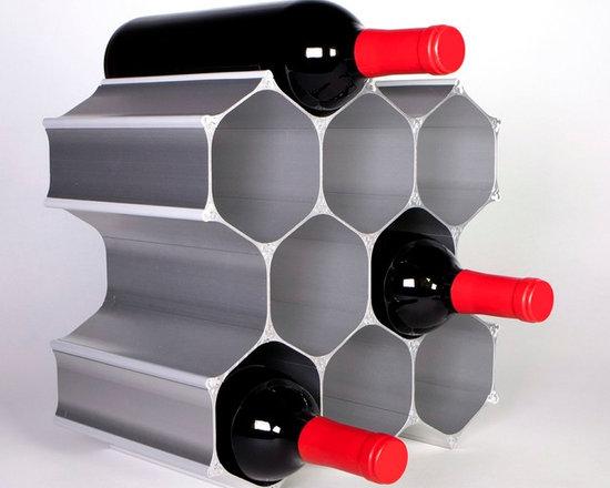 Silver WineHive 10-Bottle Modular Wine Rack -