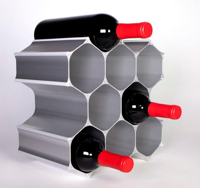 Silver WineHive 10 Bottle Modular Wine Rack Contemporary Racks New York By