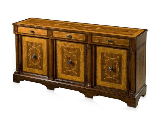 AntiquePurveyor - Casual Walnut Sideboard with Marquetry, An Antique Reproduction Side Cabinet - Casual or Rustic Sideboard with Marquetry. A traditional side cabinet with 3 drawers and 3 opening doors flanked by turned pilasters. Adjustable shelves and factory distressed finish make this a perfect addition for most casual dining spaces. Can also be used as a credenza in a living room or office.