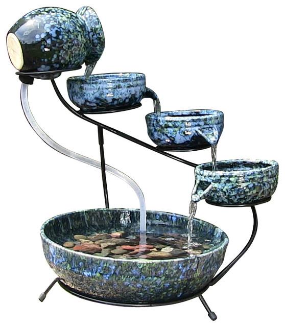 Decorative Blue Cascade Solar Fountain Contemporary