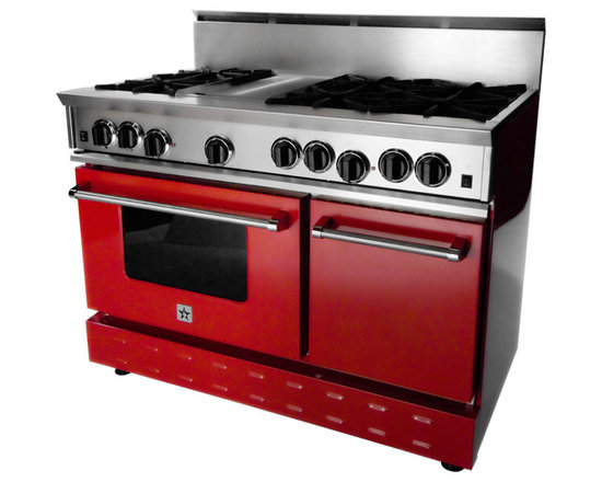 """48"""" BlueStar RNB Gas Range - Signal Red (RAL 3001) 48"""" Range has 6 Top Burners with Griddle"""