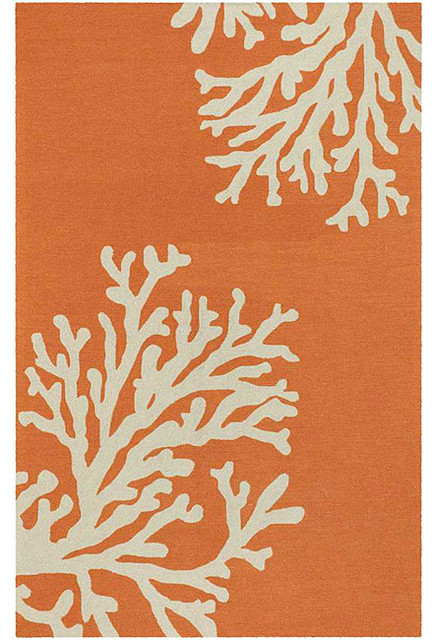 Hand Hooked Orange Area Rug contemporary rugs