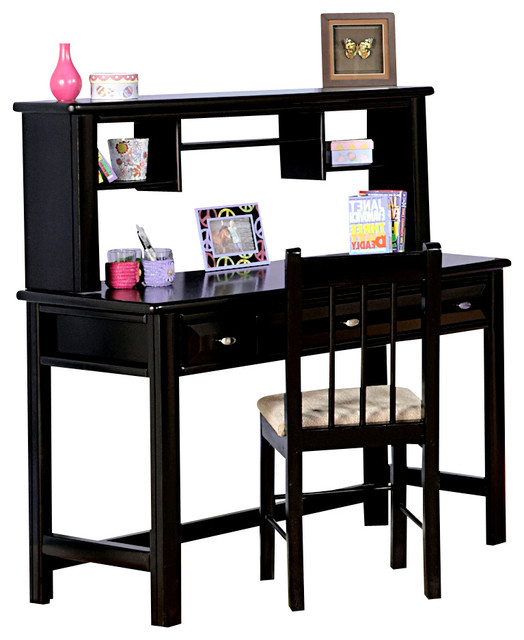 Chelsea Home 3 Drawer Student Desk with Hutch in Black