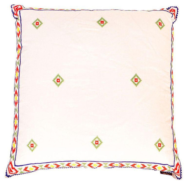 White red mexican embroidered throw pillow rustic