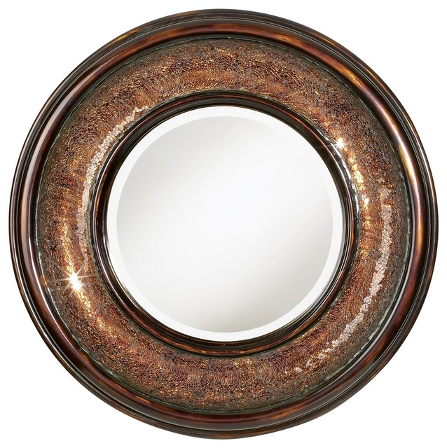 "Accent Mosaic Bronze Finish 36"" Wide Round Wall Mirror contemporary mirrors"