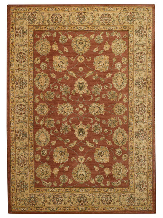 Honour Palmette rug in Red Gold - The Honour Collection boasts space dyed yarns in a cross woven construction for a unique old world feel.