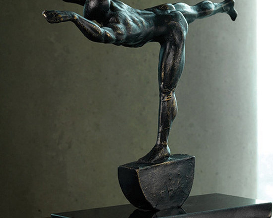 """Stretch Sculpture - Shipping is included in the price! An excellent gift idea for any fitness enthusiast, our unique iron sculpture is a finely-detailed and magnificent representation of modern art. This captivating, life-like sculpture is certain to make an instant impression at home or office. Dimensions: 14""""w x 4""""d x 11.5""""h"""