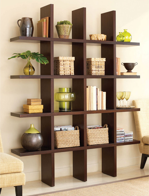 Tic Tac Toe Medium Bookcase in Java Brown modern bookcases cabinets and computer armoires