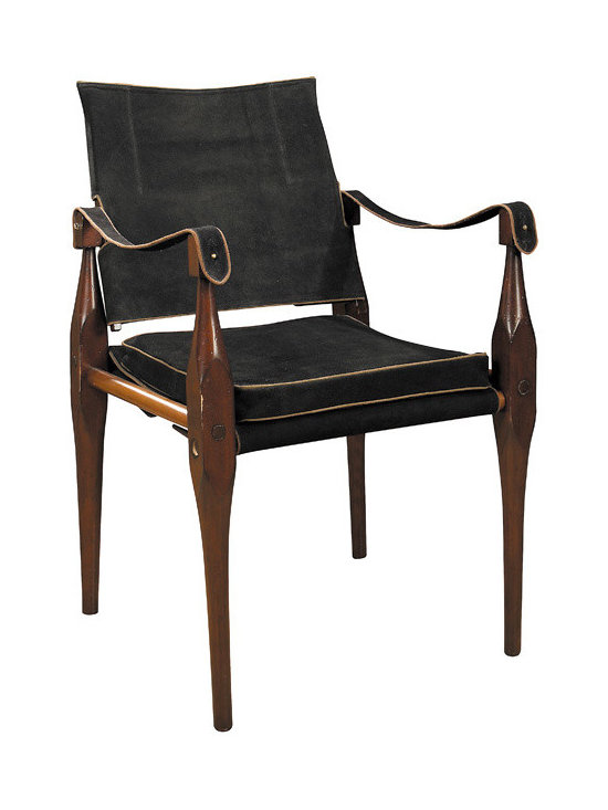 "Inviting Home - Rhoorkie Suede Chair - Black suede hide trimmed with natural leather piping hardwood maple brass hardware. 21-3/4 x 22 x 35""H British Imperial officers on the move insisted on comfort after a long marching day. When camp was set up orderlies unpacked campaign boxes and assembled tents tables and chairs. The classic Rhoorkie named after the Indian town of manufacture was very popular. Comfortable and practical its slightly flexible build accommodated uneven ground surfaces. Level seating went with level headedness. Hand-made Rhoorkie chair features top quality black suede hide trimmed with natural leather piping and brass hardware. Instead of endangered teak hardwood maple was used for construction. This chair knocks down on demand and guaranteed to function anywhere everywhere for generations."