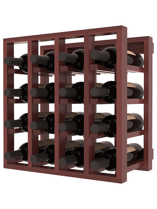 Lattice Stacking Wine Cubicle in Redwood with Cherry Stain + Satin Finish - Designed to stack one on top of the other for space-saving wine storage our stacking cubes are ideal for an expanding collection. Use as a stand alone rack in your kitchen or living space or pair with the 20 Bottle X-Cube Wine Rack and/or the Stemware Rack Cube for flexible storage.