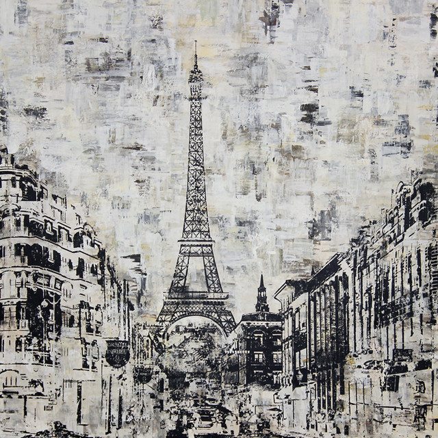 Wall Art In Black And White : Art in style la tour eiffel paris black and white hand