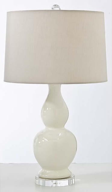 Regina Andrew Ivory Ceramic Gourd Table Lamp, Crystal Base traditional table lamps