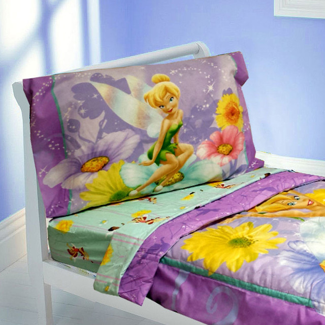 Tinkerbell toddler bedding set 4pc disney fairy flowers for Tinkerbell bedroom furniture