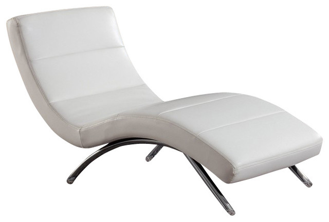 R820 White Bonded Leather Lounge Chaise Chair Contemporary Outdoor Chaise